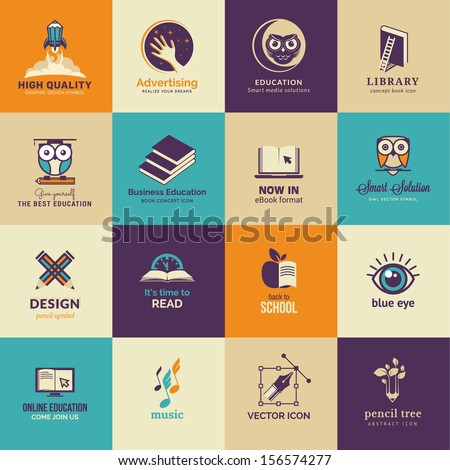 Set of art and education icons - stock vector