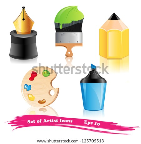 Set of Artist Icons - stock vector