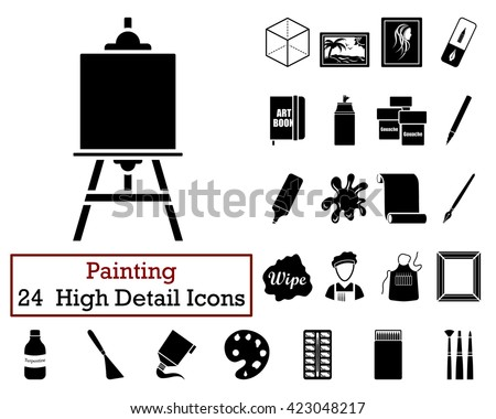 Set of 24  Artist Icons in Black Color.Vector illustration. Artist icon design. Artist icon sign. Artist icon pictogram. Artist icon image. Artist icon symbol. Artist icon element. Artist icon badge. - stock vector