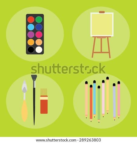 Set of artist pencils paint brush canvas palette knife vector illustration - stock vector
