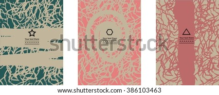 Set of artistic creative universal card with abstract background. Hand drawn textures. Design for card, invitation, placard, brochure. Vector. - stock vector