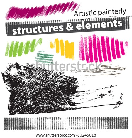 Set of artistic natural media grunge elements - brush strokes, structures - stock vector
