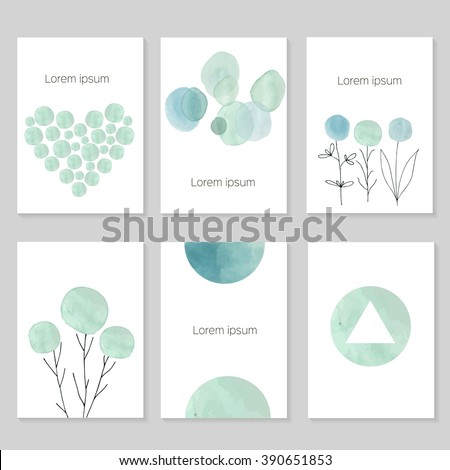 Set of artistic universal cards.  Wedding, birthday, party, Valentine's day,  universally. Design for  card, invitation, placard, poster, brochure, flyer. Vector. Hand Drawn wartercolor textures. - stock vector