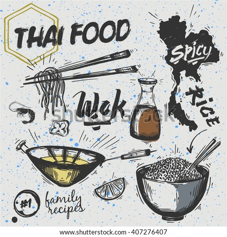 Set of Asian dishes. Thai food - noodles and rice - stock vector