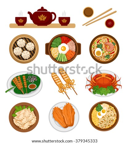 Set of asian food. Chinese and Korean cuisine. Vector flat illustration. Infographic.  - stock vector