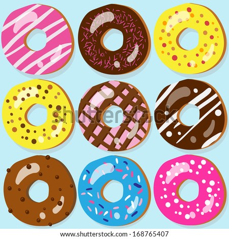 Set of 9 assorted doughnut icons with different toppings - stock vector
