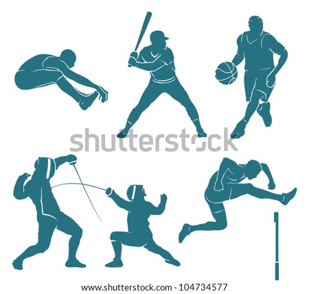 Set of athletes silhouettes - vector illustrations - stock vector