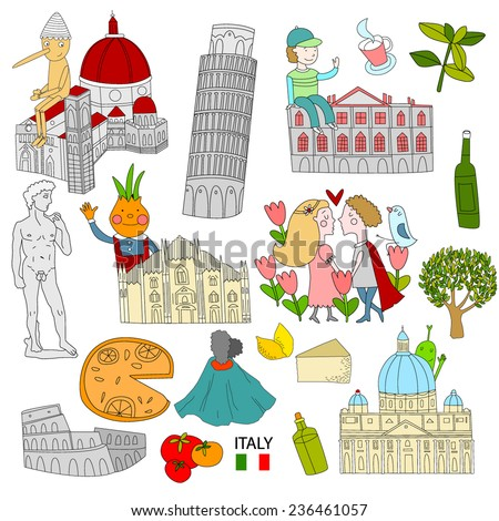 Set of attractions in Italy - stock vector