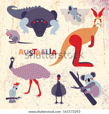 Set of Australian animals - stock vector