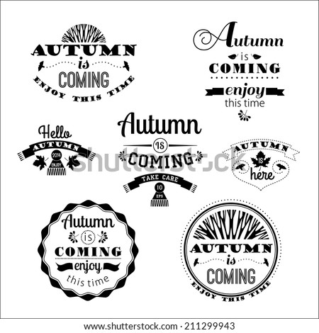 Set of Autumn Labels and Signs With Retro Typography - stock vector