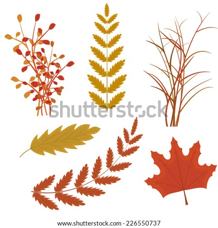 set of autumn leaves to create a vector initial submissions - stock vector