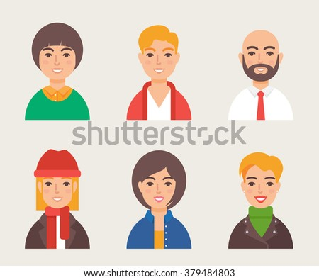 Set of avatars modern vector style. Male and female character - stock vector