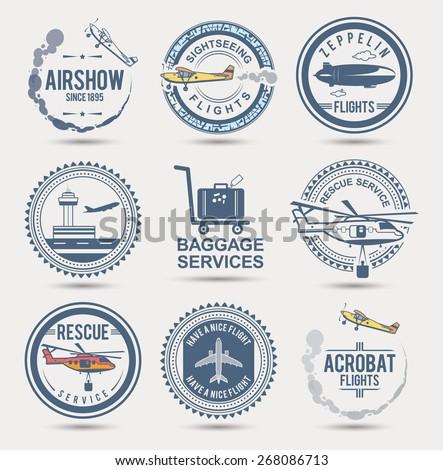 Set of aviation badges. EPS10.  - stock vector