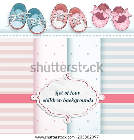 Set of baby booties and decorative backgrounds. Can be used for shower card design.  - stock vector