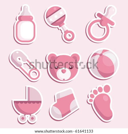 Set of baby girl icons - stock vector