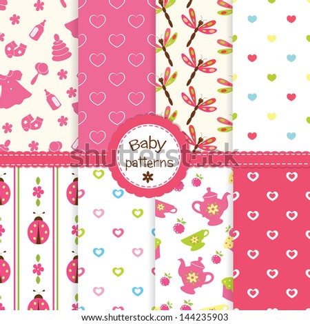 Set of baby girl seamless patterns - stock vector
