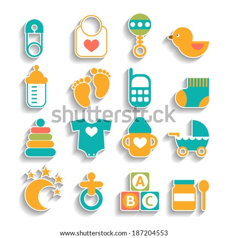 Set of baby icons isolated on a white background - stock vector