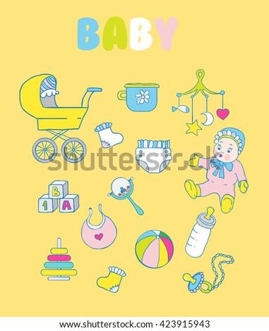 Set of baby items: rattle, doll, blocks, bottle, pacifier, pyramid, ball, diaper, bib, socks, baby potty - stock vector