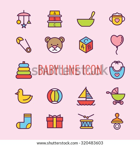 set of baby line icon isolated on pink background - stock vector
