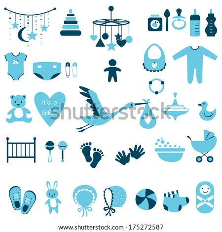 Set of baby shower flat elements isolated on white background. Vector illustration - stock vector