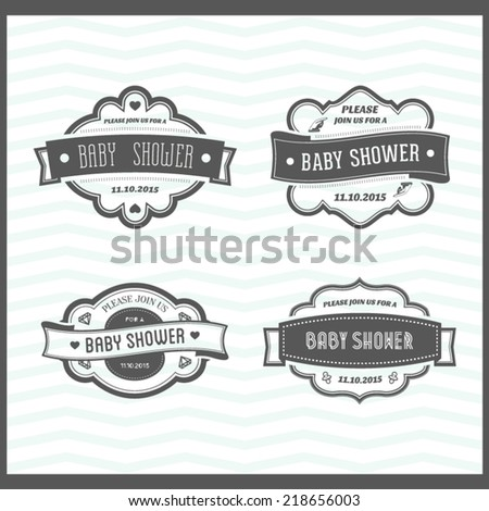 Set of Baby Shower Invitation - stock vector