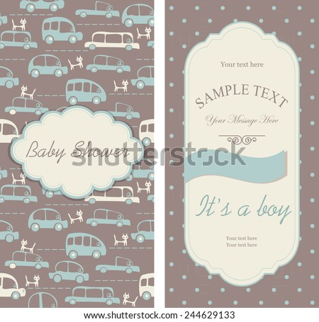 """set of Baby shower invitations """"It's a boy""""  - stock vector"""
