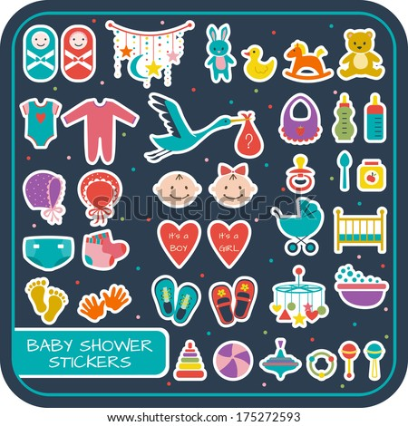 Set of baby shower stickers. Vector illustration - stock vector