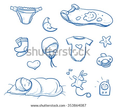 Set of baby sleeping icons, with diaper, socks, hat, crawler, sleeping, bag. For baby shower card. Hand drawn line art vector illustration. - stock vector