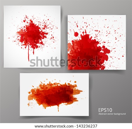 Set of backgrounds with big red splashes. Vector illustration. - stock vector