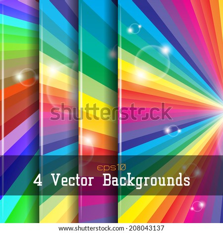 Set of 4  backgrounds with colorful sparks. Space for your text. (eps10 Vector) - stock vector