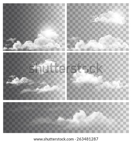 Set of backgrounds with transparent different clouds. Vector.  - stock vector