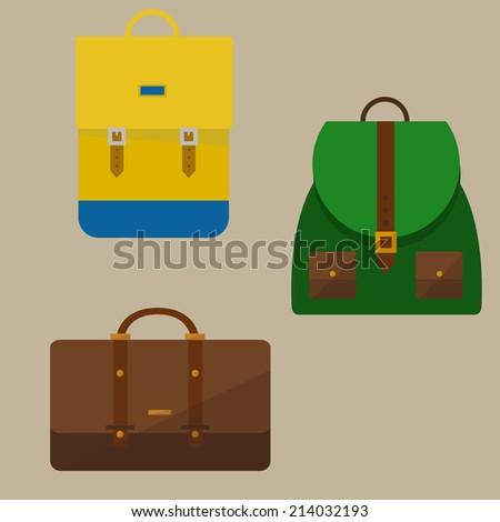 Set of backpacks - stock vector