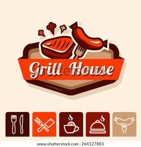 Set of badge, label, logo, icons design templates for grill menu - stock vector