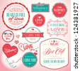Set of badges and elements for Valentine`s day - stock vector