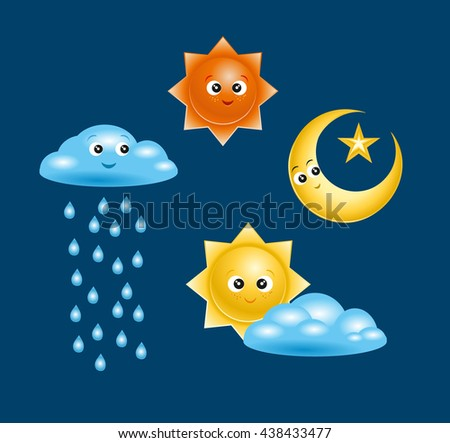 Set of Badges and icons in a vector of characters with names for kids weather events. Internet site icons in the weather - stock vector