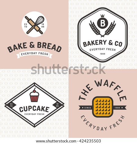 Set of badges, banner, labels, logos, icons, objects and elements for bakery shop with seamless pattern. Vector illustration. - stock vector