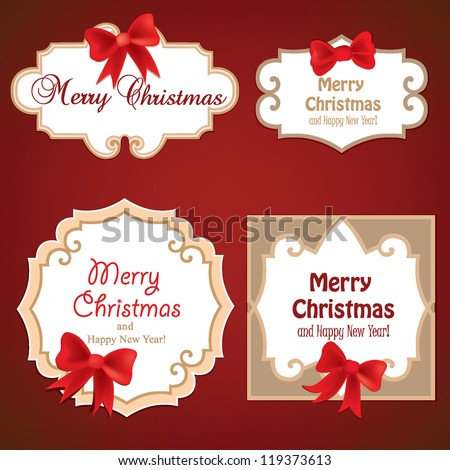 Set of Badges, Tags with space for text. Set of christmas retro labels with red gift bows with ribbons. - stock vector
