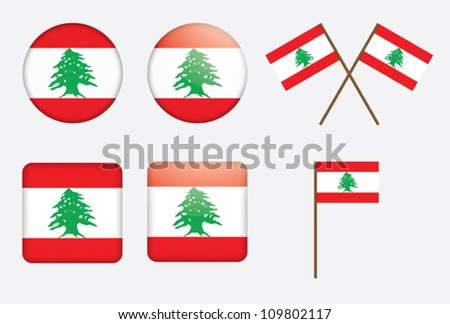set of badges with flag of Lebanon vector illustration - stock vector