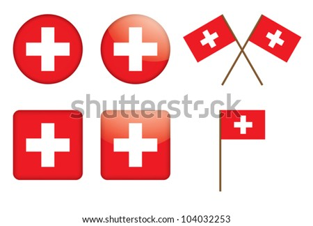 set of badges with Swiss flag vector illustration - stock vector