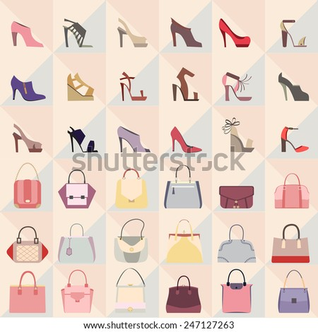 Set of bags and shoes icons. Collection of elegant of bags and shoes - stock vector