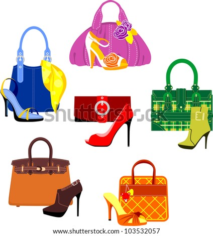 Set of bags and shoes in glamour style - stock vector