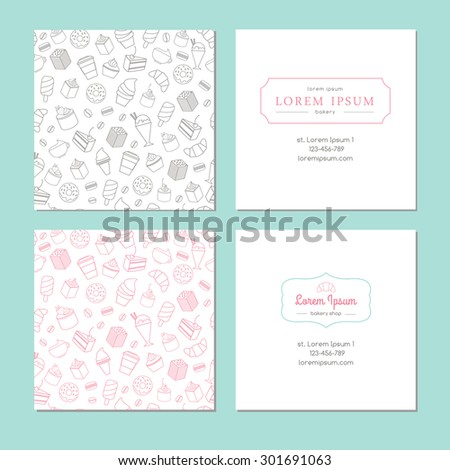 Set of bakery business cards - stock vector