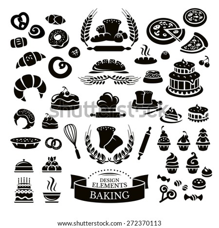 Set of bakery design elements and icons vector illustration - stock vector