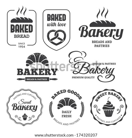 Set of bakery labels and symbols 2 - stock vector