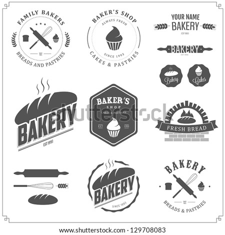 Set of bakery logos, labels, badges and design elements - stock vector