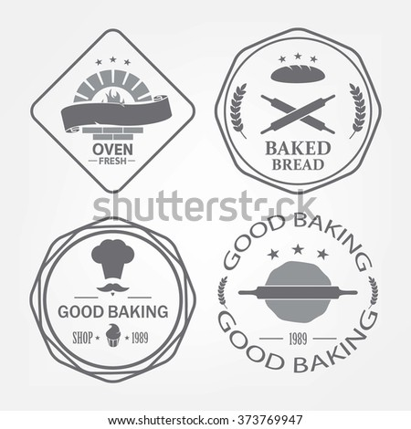 Set of bakery logos, labels, badges and design elements gray background - stock vector