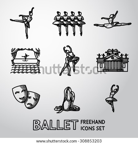 Set of Ballet freehand icons with - ballet dancers, swan lake dance, stage, theater building, masks. Vector - stock vector