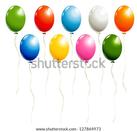 Set of balloons isolated on white - stock vector