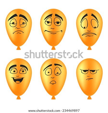Set of balloons smileys - stock vector