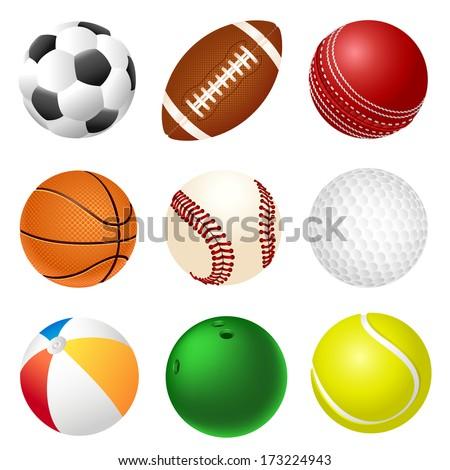 Set of balls - stock vector